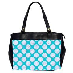 Circles2 White Marble & Turquoise Colored Pencil Office Handbags (2 Sides)  by trendistuff