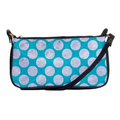 Circles2 White Marble & Turquoise Colored Pencil Shoulder Clutch Bags by trendistuff