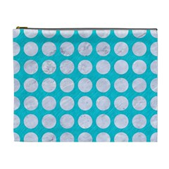 Circles1 White Marble & Turquoise Colored Pencil Cosmetic Bag (xl) by trendistuff