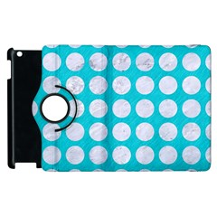 Circles1 White Marble & Turquoise Colored Pencil Apple Ipad 3/4 Flip 360 Case by trendistuff