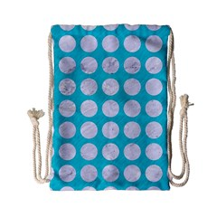 Circles1 White Marble & Turquoise Colored Pencil Drawstring Bag (small) by trendistuff