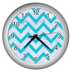 Chevron9 White Marble & Turquoise Colored Pencil (r) Wall Clocks (silver)  by trendistuff