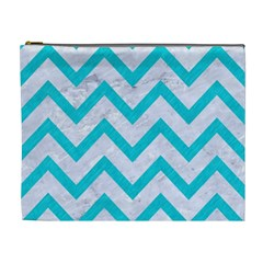Chevron9 White Marble & Turquoise Colored Pencil (r) Cosmetic Bag (xl) by trendistuff