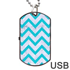 Chevron9 White Marble & Turquoise Colored Pencil (r) Dog Tag Usb Flash (two Sides) by trendistuff
