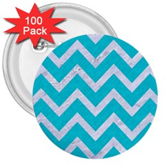 Chevron9 White Marble & Turquoise Colored Pencil 3  Buttons (100 Pack)  by trendistuff