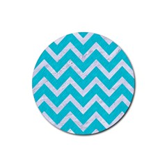 Chevron9 White Marble & Turquoise Colored Pencil Rubber Coaster (round)  by trendistuff