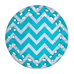 Chevron9 White Marble & Turquoise Colored Pencil Ornament (round Filigree) by trendistuff
