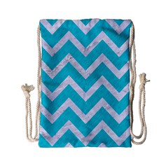 Chevron9 White Marble & Turquoise Colored Pencil Drawstring Bag (small) by trendistuff
