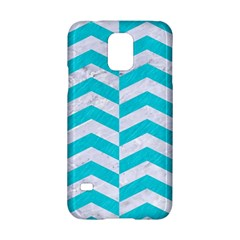 Chevron2 White Marble & Turquoise Colored Pencil Samsung Galaxy S5 Hardshell Case  by trendistuff