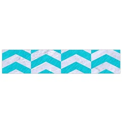 Chevron2 White Marble & Turquoise Colored Pencil Small Flano Scarf by trendistuff