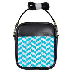 Chevron1 White Marble & Turquoise Colored Pencil Girls Sling Bags by trendistuff