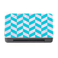 Chevron1 White Marble & Turquoise Colored Pencil Memory Card Reader With Cf by trendistuff