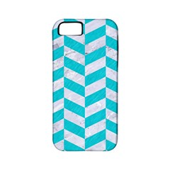 Chevron1 White Marble & Turquoise Colored Pencil Apple Iphone 5 Classic Hardshell Case (pc+silicone) by trendistuff