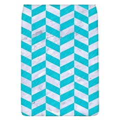 Chevron1 White Marble & Turquoise Colored Pencil Flap Covers (l)  by trendistuff