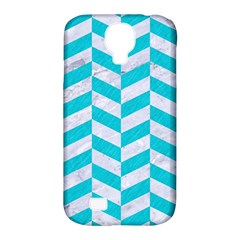 Chevron1 White Marble & Turquoise Colored Pencil Samsung Galaxy S4 Classic Hardshell Case (pc+silicone) by trendistuff