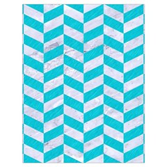 Chevron1 White Marble & Turquoise Colored Pencil Drawstring Bag (large) by trendistuff