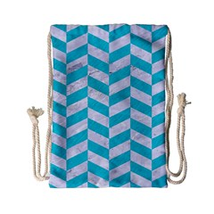 Chevron1 White Marble & Turquoise Colored Pencil Drawstring Bag (small) by trendistuff