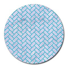 Brick2 White Marble & Turquoise Colored Pencil (r) Round Mousepads by trendistuff
