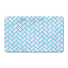 Brick2 White Marble & Turquoise Colored Pencil (r) Magnet (rectangular) by trendistuff