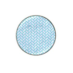 Brick2 White Marble & Turquoise Colored Pencil (r) Hat Clip Ball Marker by trendistuff