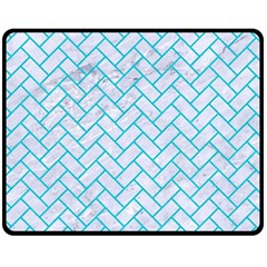Brick2 White Marble & Turquoise Colored Pencil (r) Double Sided Fleece Blanket (medium)  by trendistuff