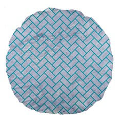 Brick2 White Marble & Turquoise Colored Pencil (r) Large 18  Premium Flano Round Cushions by trendistuff