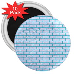 Brick1 White Marble & Turquoise Colored Pencil (r) 3  Magnets (10 Pack)  by trendistuff