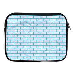 Brick1 White Marble & Turquoise Colored Pencil (r) Apple Ipad 2/3/4 Zipper Cases by trendistuff