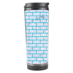 Brick1 White Marble & Turquoise Colored Pencil (r) Travel Tumbler by trendistuff