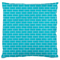 Brick1 White Marble & Turquoise Colored Pencil Standard Flano Cushion Case (two Sides)