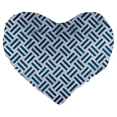 Woven2 White Marble & Teal Leather (r) Large 19  Premium Heart Shape Cushions by trendistuff