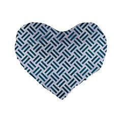 Woven2 White Marble & Teal Leather (r) Standard 16  Premium Flano Heart Shape Cushions by trendistuff