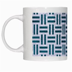 Woven1 White Marble & Teal Leather (r) White Mugs by trendistuff