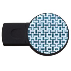 Woven1 White Marble & Teal Leather (r) Usb Flash Drive Round (4 Gb) by trendistuff