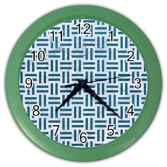 Woven1 White Marble & Teal Leather (r) Color Wall Clocks by trendistuff