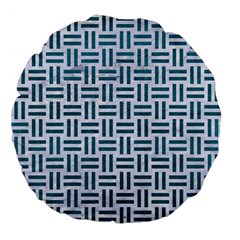 Woven1 White Marble & Teal Leather (r) Large 18  Premium Flano Round Cushions by trendistuff