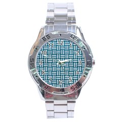 Woven1 White Marble & Teal Leather Stainless Steel Analogue Watch by trendistuff