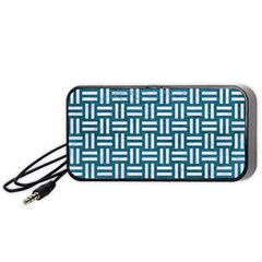 Woven1 White Marble & Teal Leather Portable Speaker by trendistuff