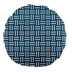 Woven1 White Marble & Teal Leather Large 18  Premium Flano Round Cushions by trendistuff