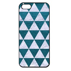 Triangle3 White Marble & Teal Leather Apple Iphone 5 Seamless Case (black) by trendistuff