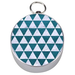 Triangle3 White Marble & Teal Leather Silver Compasses by trendistuff
