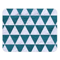 Triangle3 White Marble & Teal Leather Double Sided Flano Blanket (large)  by trendistuff