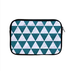 Triangle3 White Marble & Teal Leather Apple Macbook Pro 15  Zipper Case by trendistuff