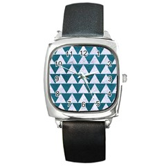 Triangle2 White Marble & Teal Leather Square Metal Watch by trendistuff