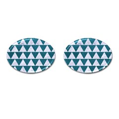 Triangle2 White Marble & Teal Leather Cufflinks (oval) by trendistuff