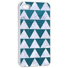 Triangle2 White Marble & Teal Leather Apple Iphone 4/4s Seamless Case (white) by trendistuff