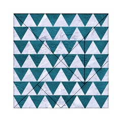 Triangle2 White Marble & Teal Leather Acrylic Tangram Puzzle (6  X 6 ) by trendistuff