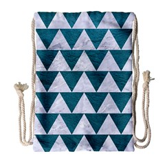 Triangle2 White Marble & Teal Leather Drawstring Bag (large) by trendistuff