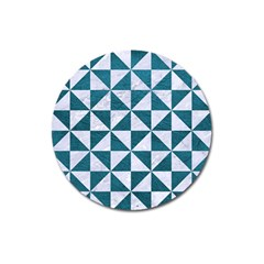 Triangle1 White Marble & Teal Leather Magnet 3  (round) by trendistuff