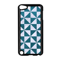 Triangle1 White Marble & Teal Leather Apple Ipod Touch 5 Case (black) by trendistuff